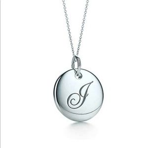 "Tiffany's letter ""J"" disc necklace"